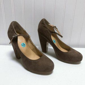 *Nine West Taupe Heels Suede Size 7.5
